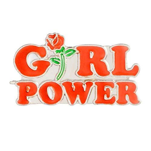 RomanFrauen Girl Power Rose Blume Emaille Kragen Revers Button Pin Badge Brosche Kupplung Krawattennadeln Pin zurück Schmuck Handtasche Schal, Krawatte, Hut, Mantel Dekor kostengünstig und langlebi