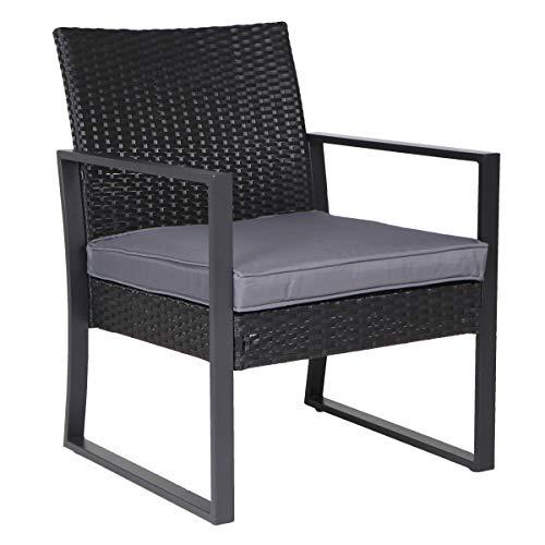 SVITA LOIS XL Poly Rattan Sitzgruppe Gartenmöbel Metall-Garnitur Bistro-Set Tisch Sessel schwarz - 7