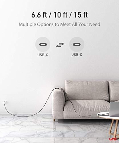 uni USB-C Ladekabel, 3m USB C auf USB C Kabel 5A 100W, kompatibel für MacBook Pro, iPad Pro, Surface Book, Switch, Galaxy S9/S8/S10, Google Pixel 3/3XL usw