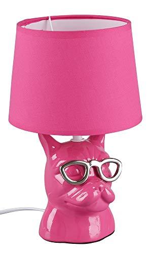 Reality Leuchten Tischleuchte Dosy R50231093, Fuß Keramik Glänzend, Stoffschirm Pink, exkl. 1x E14