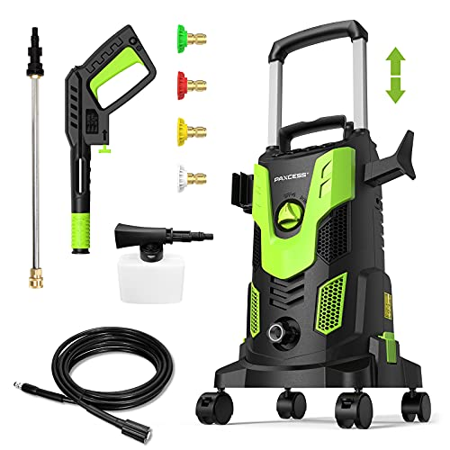 Paxcess Powerful Electric Pressure Washer, Power Washer 3000PSI 2.5GPM Max Car Washer Machine with 4 Spinner Wheels, 4 Nozzles Foam Cannon for Car, Home, Driveway, Patio