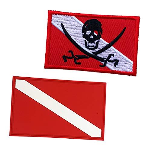 N/A/a 2Pcs Scuba Dive Diver Down Flag Patch Insignia para Bolsa de Equipo