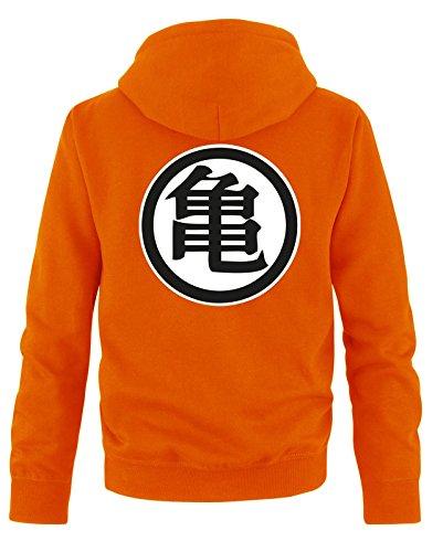 Comedy Shirts Sweat Shirt pour Hommes Son Goku - Sweat à Capuche pour Hommes Dragon Ball Z - Sweat pour Hommes avec Logo DBZ - Orange - Small