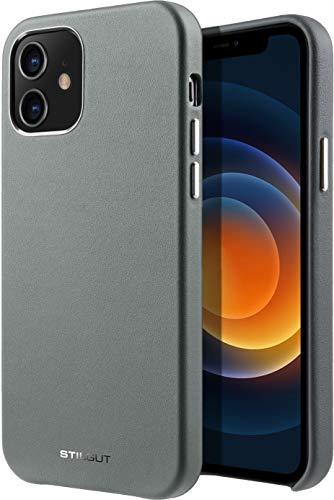 StilGut Cover kompatibel mit iPhone 12 Mini Hülle aus Leder, Lederhülle, Hülle aus Leder, Ledercase - Grau/Grün