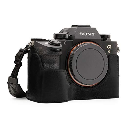 MegaGear MG1243 Sony Alpha A7RIII, A9, A7III Ever Ready Câmera de couro genuíno meia capa e alça – Preto