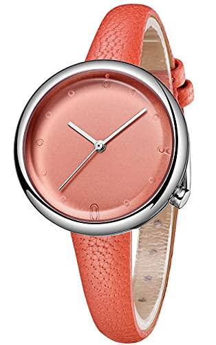CIVO Reloj de pulsera para mujer, resistente al agua, minimalista, correa de piel, elegante, informal, analógico, de cuarzo, para mujeres y niñas, 2 naranja.,
