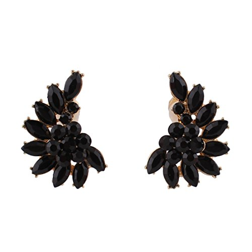Vintage Gold-tone Black Crystal Clip on Earrings Without Piecing for Women Party Easy to Wear Earrirngs(Black)