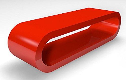 Zespoke Cerceau de Style Rétro Rouge Brillant Grande Table Basse/Meuble TV Rétro Largeur de 110cm