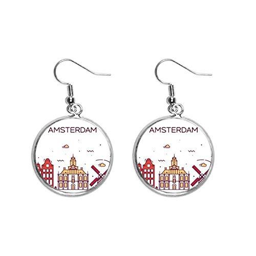 Amsterdam Flat Landmark Oor Dangle Zilver Drop Oorbel Sieraden Vrouw