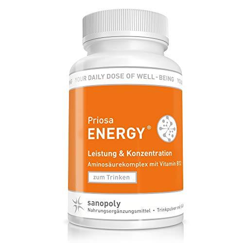 SANOPOLY Priosa® ENERGY Drink Himbeere 240g I Für alle Stoffwechselprozesse + erhöhte Eiweißzufuhr I Magnesium, Zink & Vitamine für Aufbauprozesse I Veganer Aminosäuren-Mix I Geprüfte Qualität