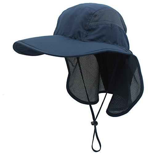 gg st Sonnenhut Herren Damen UPF 50+ Outdoor UV Summer Cap mit Nackenschutz Hiking Fischerhut Strand Faltbar Safari Buschhüte Mesh Hat, Dunkelblau