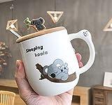 Tazza in ceramica Koala Tazza personalità creativa con cucchiaio Coperchio Tazza da caffè per uso domestico Tazza da acqua Tazza da coppia 450ml