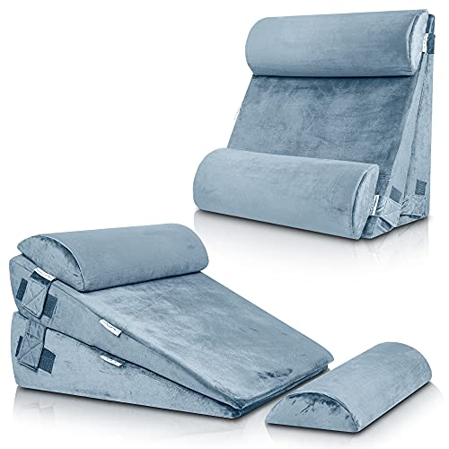 LX8 4pcs 2lay Orthopedic Bed Wedge Pillow Set, Post Surgery Memory Foam for Back, Neck and Leg Pain Relief. Sitting Pillow, Comfortable and Adjustable Pillows Acid Reflux and GERD for Sleeping Gray