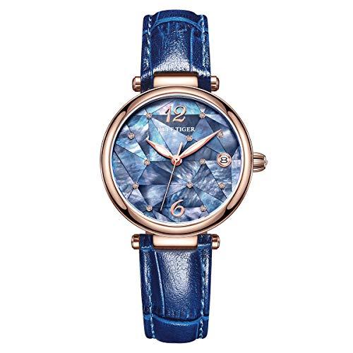 REEF TIGER Damen Uhr analog Automatik mit Leder Armband RGA1584 (RGA1584-PLL)
