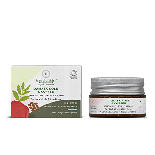 Juicy Chemistry Organic Eye Cream, Natural Under Eye Cream for Dark Circle & Wrinkles, 5gm Damask Rose & Coffee Eye Cream for Puffy Eyes