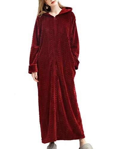 TIANNBU Damen Bademantel Frottee Flauschig Morgenmantel Lang Kimono mit Tasche,Rot XL