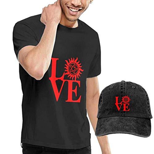 Baostic Herren Kurzarmshirt Love Supernatural T-Shirts and Hats, Black Fashion Sport Casual T-Shirt + Cowboy Hat Set for Men