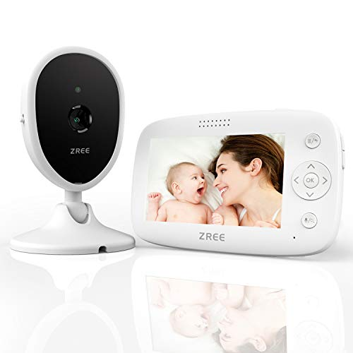 "Baby Monitor Video, ZREE 4,3"" Monitor Wireless Radioline Neonati con Video, Audio Telecamera con Citofono, LCD Digitale Videocamera, Audio Bidirezionale, Visione Notturna e Monitor Termico, 3200mAh"