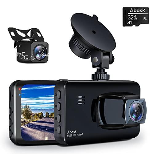 Abask Cámara de Coche, 170° Gran Ángulo Frente y 150° Gran Ángulo Trasera Full HD Doble 1080P Dash Cam con Tarjeta 32G, G-Sensor, Grabación de Bucle, WDR, Monitor de Aparcamiento, Sensor de Movimiento
