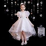 SUNXC Princesa Disfraz Traje Parte Las Niñas Vestido, Disfraz de Falda de Gasa Blanca de Gasa hinchada-B_130cm, Niñas Traje Fiesta De Cumpleaños