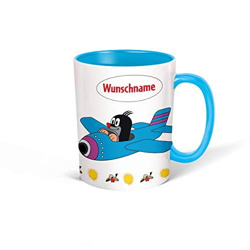 Trötsch Tasse Der kleine Maulwurf mit Wunschname personalisierbar, Namenstasse, Teetasse, Kaffeebecher, Geschenkidee zum Geburtstag, Kindertag oder Schulanfang für jung und alt … (Blau Flugzeug)