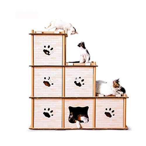 GIBOLEA キャットダンボールハウス 爪とぎ 猫タワー つめとぎ ねこ キャットタワー 段ボールハウス 猫 三階建ての猫の家 製品仕様 幅 98cm 奥行 37cm 高さ 99cm