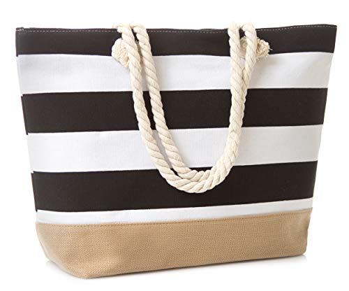 Leisureland Canvas Tote Beach Bag, Water Resistant Shoulder Tote Bag (L20'xH15'xW6', Stripe Black)