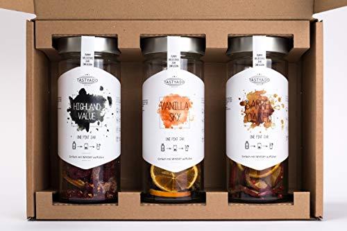 TASTYADD WHISKY Geschenk-Set – 3 verschiedene Whisky Jars abgestimmt mit Gewürzen, Kräutern und Eiche für Whiskyliebhaber. Ideal für Cocktails Longdrinks oder puren Genuss