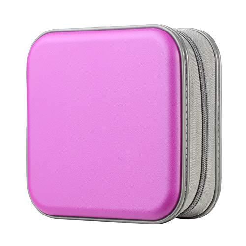 alavisxf xx CD Case, 48 Capacity Hard Plastic DVD Case Portable Zipper CD Case Holder Large Storage Disc Wallet Bag for Car Home Travel (Purple, 48 Capacity)
