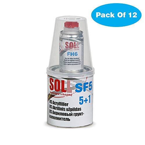 SOLL HS 5+1 SF5 acrylvulprimer met verharder 0,9 l pak van 12 Donkergrijs