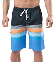 Materials: 100% polyester, premium water repellent technology quick drying fabric, lightweight and comfortable. Lining Design: Men swimming trunks bult in soft mesh net lining offer extra support and keep cool during hot summer days. Elastic Waist Ba...