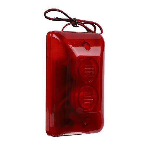 Sirena estroboscópica con cable, VBESTLIFE Mini 120 dB, alarma de sonido para exteriores de 12 voltios con luz LED roja intermitente para seguridad del hogar, sistema de alarma de protección