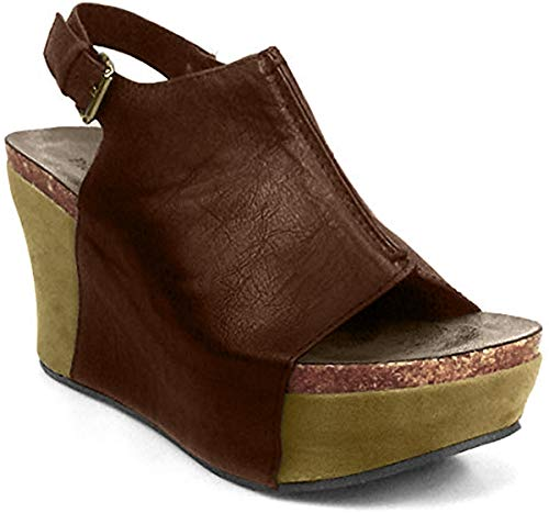 Pierre Dumas Hester-14 Women's Platform Wedge Open Toe Sandals,Whiskey,10