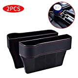 2 Packs Car Seat Gap Filler PU Car Seat Organizer with Cup Holder, Car Console Side Organizer for Cellphone,Wallet, Cup Holder, Various Cards(Black)