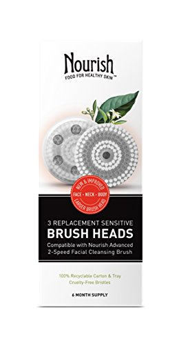 Nourish Organic Facial Cleansing Brush Head Replacements, 3 Count