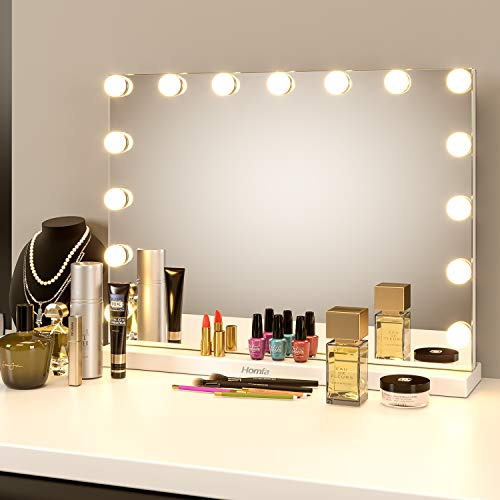 Homfa Vanity Makeup Mirror with Lights, 23x17 inches Hollywood Lighted Makeup Mirror -