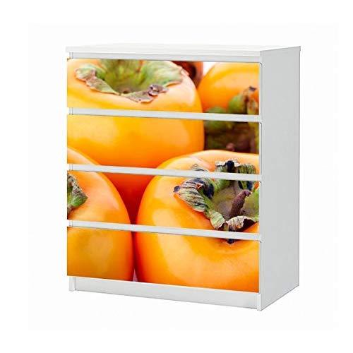 Set Möbelaufkleber für Ikea Kommode MALM 4 Fächer/Schubladen Kaki Obst gelb Gemüse Küche Pflanze Aufkleber Möbelfolie sticker (Ohne Möbel) Folie 25B708