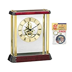 Modern Gold Mantel Desk Table Clock Davinci Dial Gear Clock Suspended Glass Cherry Base with Brass Accents Cool Home Office Timepiece Classic Unique Clocks Gift Tabletop