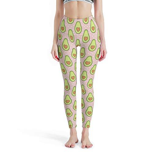 XJJ88 Fresh en Pure Broek Tight Ankles Vrouwen, Yoga Design Broek Avocado met Hart Pattens afdrukken Zomer Capri Panty Yoga Broek voor Vrouwen Petite Lengte
