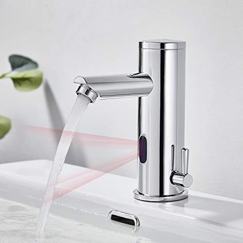 AuraLum Grifo Sensor Automático para Agua Fría y Caliente, Sin-Contacto Mezclador Grifo para Lavabo de Baño