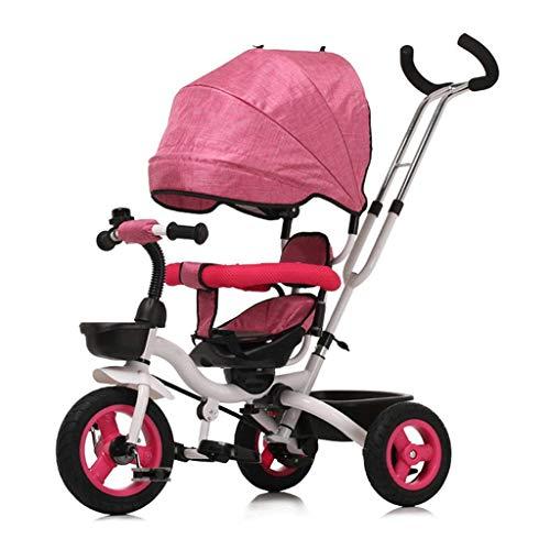KSW_KKW Las Bicicletas Infantiles for niños Ciclismo Plegable Triciclo Niño Boy neumático sólido y Chicas Carros Asiento Puede Girar con Montar a Caballo al Aire Libre del toldo Kid (Color : Red)