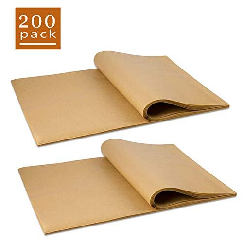 Lot de 200 feuilles de papier sulfurisé antiadhésives prédécoupées pour cuisson au grill, cuisson à la vapeur, séparation des galettes, etc. (rectangulaire)