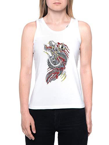Yakuza T-Shirt Canotta Donna Bianca Tank T-Shirt Womens White