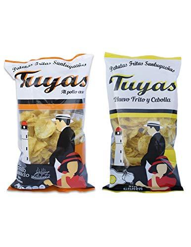Patatas fritas sabor pollo asado - Patatas fritas sabor huevo frito y cebollas - Patatas Tuyas