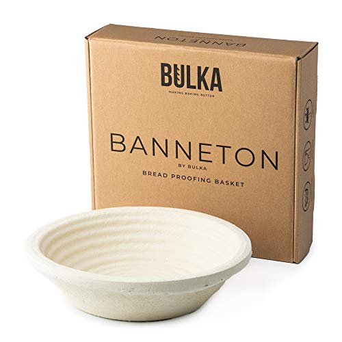 Bulka 9' Spruce Wood Pulp Banneton Bread Proofing Basket - Non-Stick Round Brotform Dough Bowl Container Proves Sourdough Rye Artisan Loaves Made in Germany