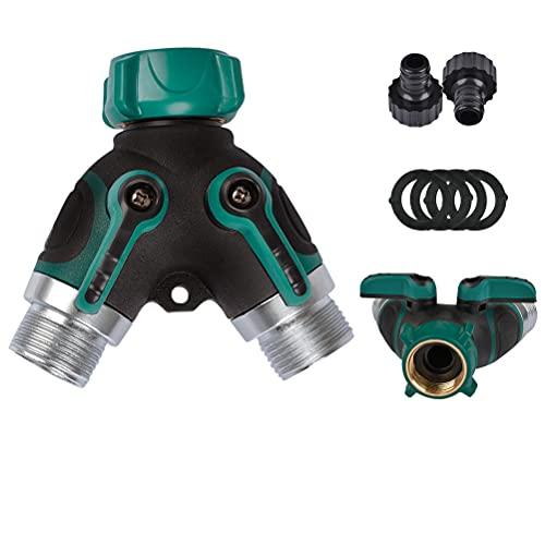 Timemetl - Splitter per rubinetto a 2 vie, da 3/4', con valvole di accensione/spegnimento individuali, adattatore per rubinetto, con 2 connettori e 4 rondelle in gomma