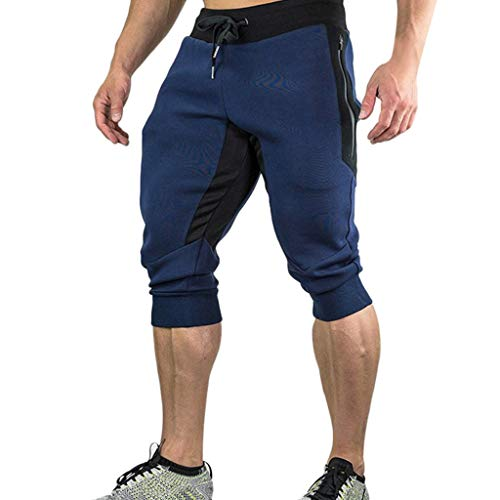 Pantalones HombresCasual Verano Joggers Sólido Bolsillo Drawstring Cremallera3/4 Trouser Reducción Precio
