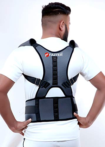 FAZTER™ Extreme Magnetic Back Brace Posture Corrector Therapy Shoulder Belt For Lower and Upper Back Pain Relief | Band Posture Corrective Real Doctor Belt For Men & Women - Free Size (Grey)