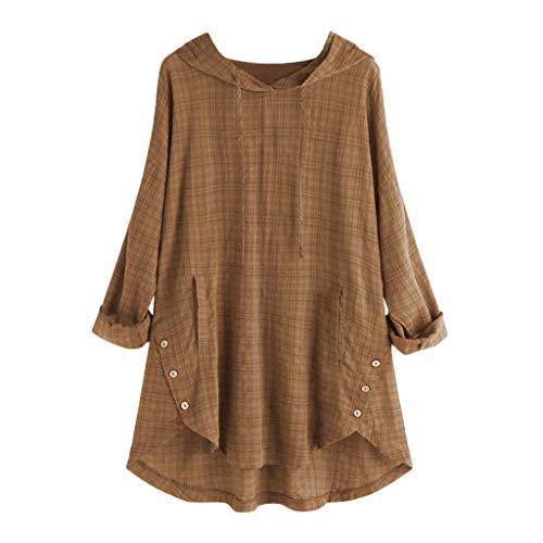 Plus Size Frauen Langarm Kaftan Baggy Button Baumwolle Leinen Casual Tunika Bluse Langärmliges T-Shirt aus Baumwolle und Leinen mit Rundhalsausschnitt und Knöpfen