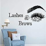 Pestañas & Amp;Cejas Logo Etiqueta De La Pared Salón De Belleza Decoración Pegatinas De Vinilo Para Pestañas De Pared Maquillaje Art Spa Salon Tatuajes De Pared 80X42Cm